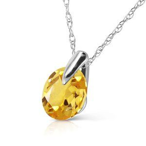 14K. SOLID GOLD NECKLACE WITH NATURAL CITRINE